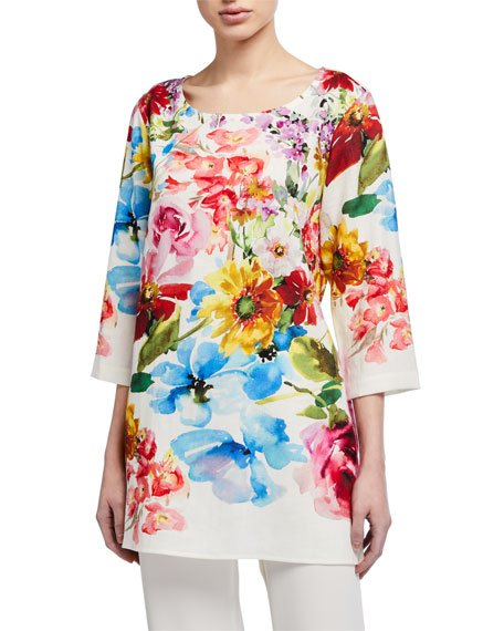 Plus Size Flirty Floral 3/4-Sleeve Printed Linen Tunic