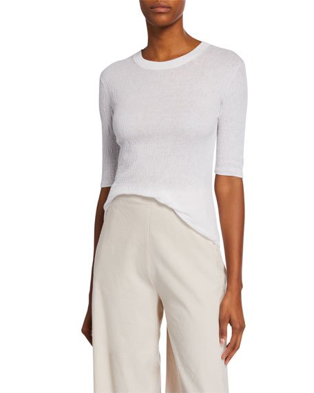 Broomstick Pleat Crewneck Elbow-Sleeve Top