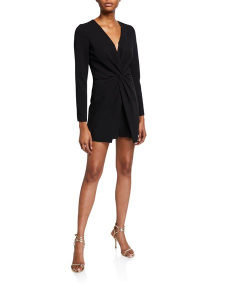 Naeva Long-Sleeve Stretch Crepe Twist-Front Playsuit