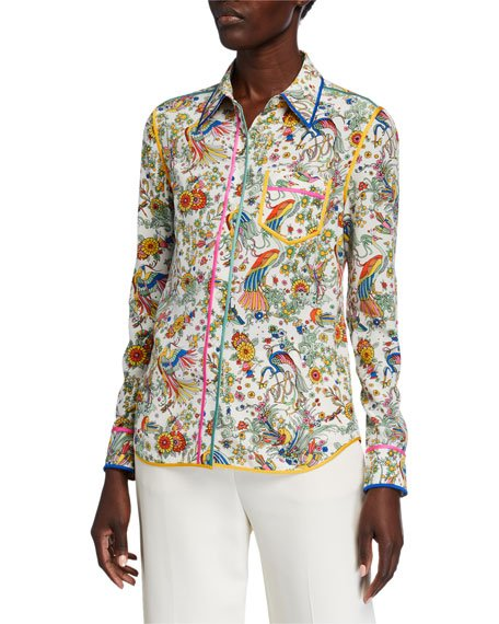 Contrast Binding Long-Sleeve Printed Button-Down Shirt