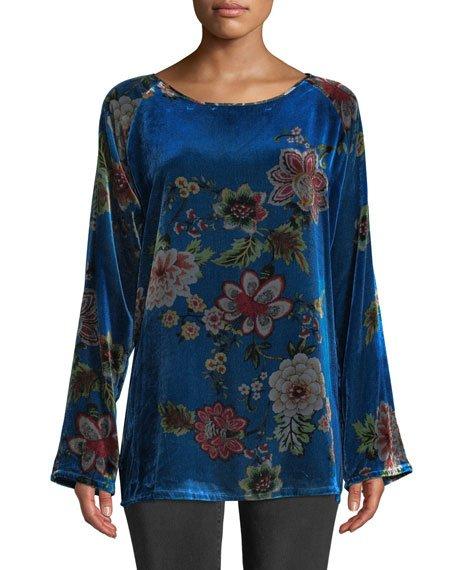 Petite Karmen Long-Sleeve Floral-Print Velvet Tunic