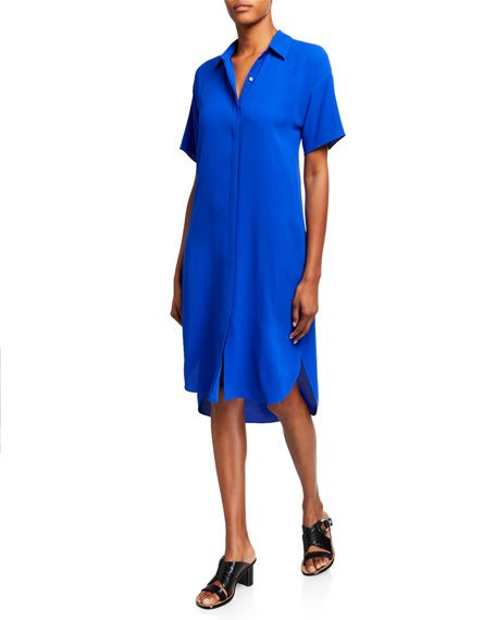 Silk Crepe Short-Sleeve Collared Shirtdress