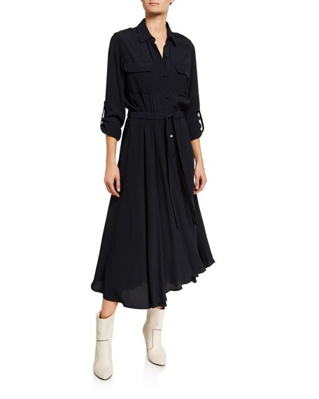 Jacquot Long-Sleeve Tie-Waist Midi Shirtdress