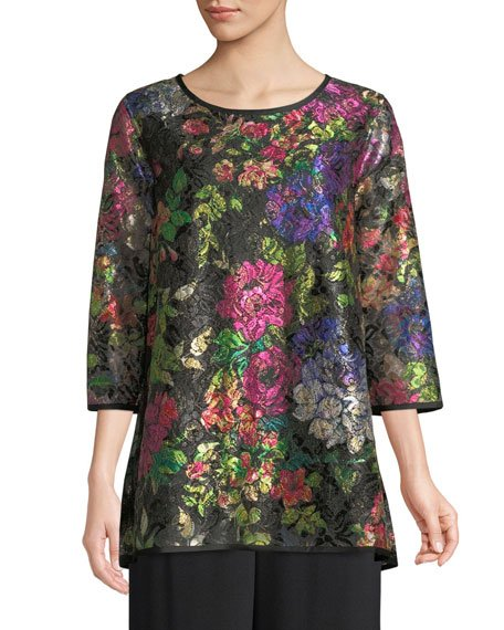 Midnight Garden 3/4-Sleeve Shimmer Floral-Print Lace Tunic w/ Tank Liner