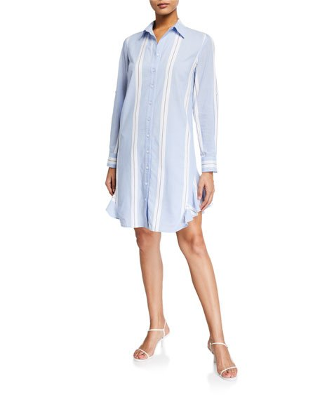 Agetha Big Breezy Striped Button-Down Shirtdress