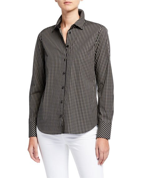Scottie Greenwich Grid Button-Down Blouse