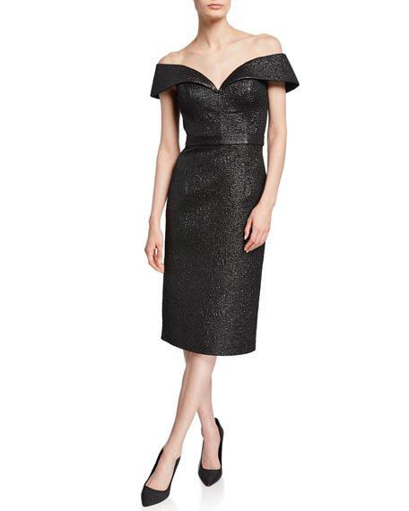 Off-the-Shoulder Knee-Length Novelty Dress