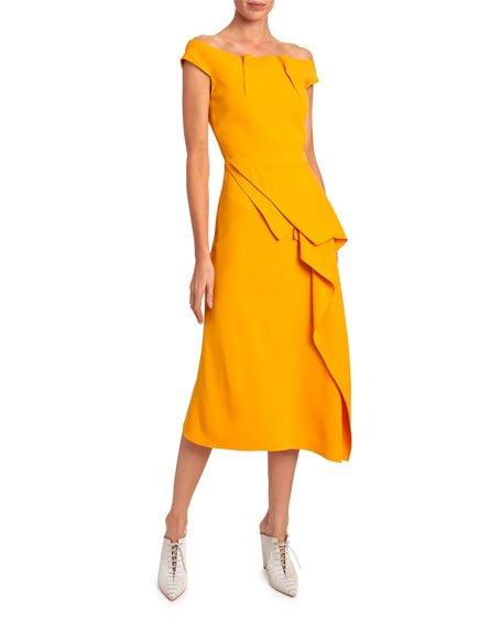 Arch Off-the-Shoulder Asymmetric Dress