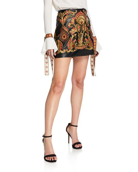 Golden-Embroidered Leather Party Skirt