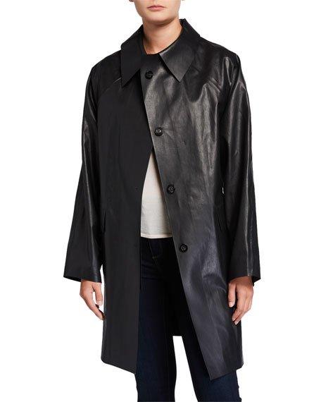 Above-the-Knee Oil Finish Raincoat, Black