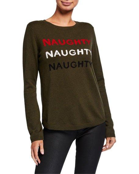 Petite Naughty Naughty Naughty Holiday Sweater