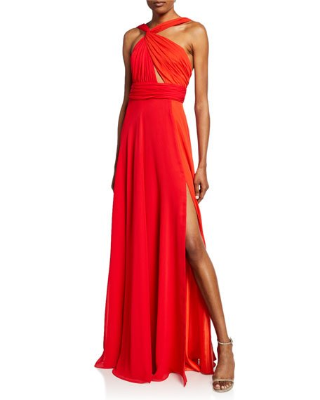 Two-Tone Halter Gown with Thigh Slit