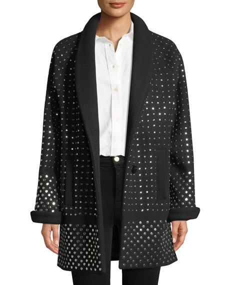 Amandine Two-Button Flat Silvertone-Studs Wool-Cashmere Oversized Coat