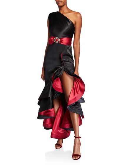 Rumba One-Shoulder Ruffle Gown with Asymmetric Slit Hem