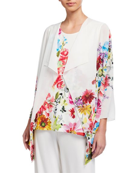 Petite Flirty Floral Draped Georgette Jacket