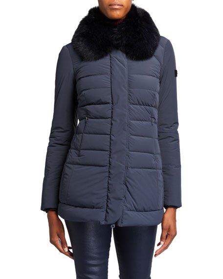 Misae Detachable Fox Fur-Collar Puffer Coat