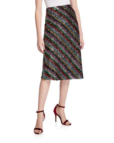 Rainbow Multistripe Sequin Bias Skirt