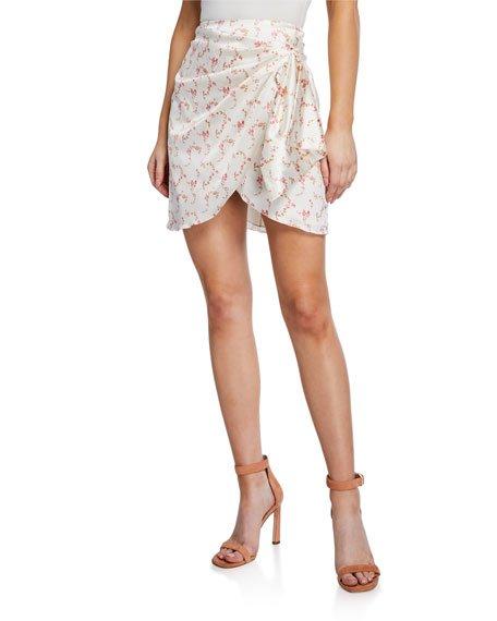 Koren Draped Floral Mini Skirt