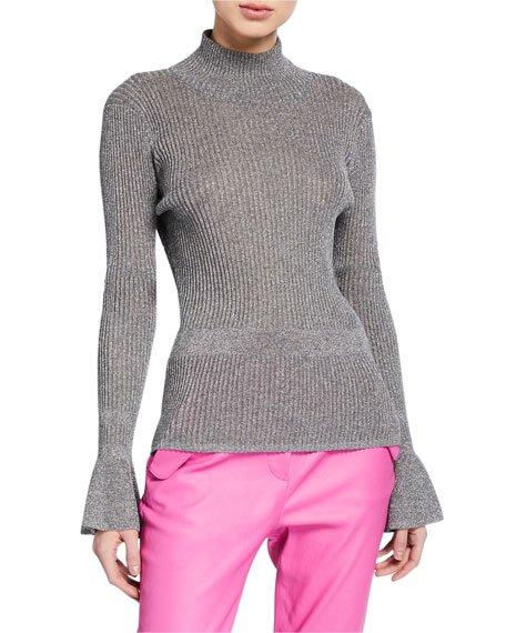 Lilia Metallic Turtleneck Pullover Sweater
