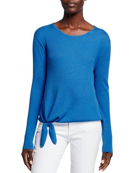 Super Fine Silk/Cashmere Crewneck Side-Tie Long-Sleeve Sweater
