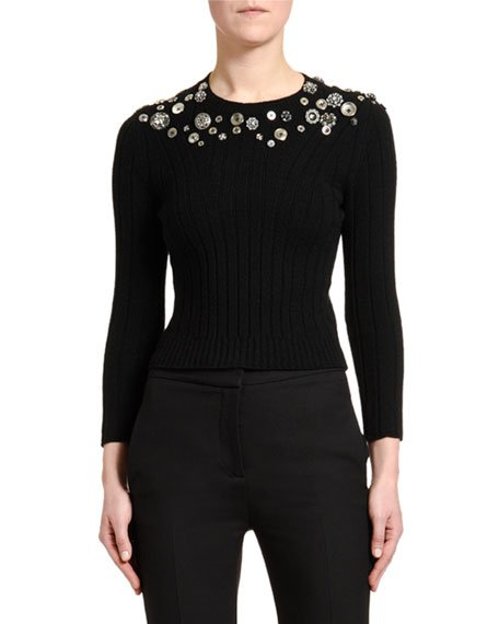 Button-Embroidered Bracelet-Sleeve Sweater