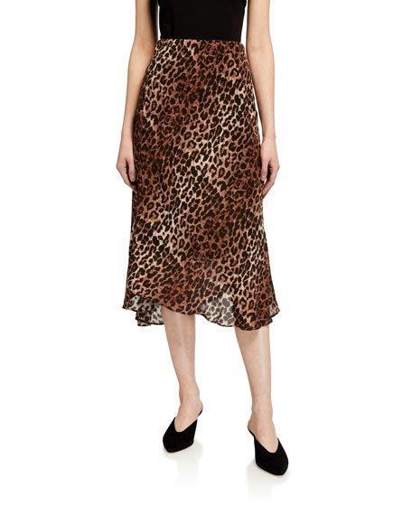 Silk Leopard-Print Midi Skirt w/ Lining
