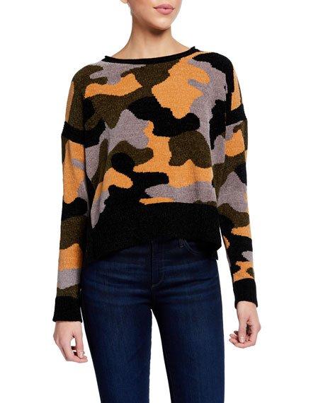 Fireside Camo Chenille Sweater w/ Side Slits