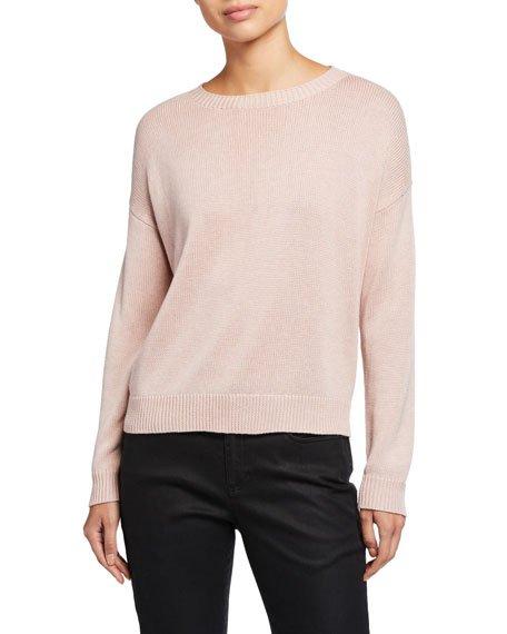 Round-Neck Lyocell/Organic Cotton/Silk Sweater