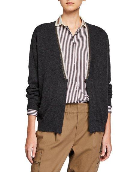 Cashmere Two-Tone Monili Cardigan Sweater
