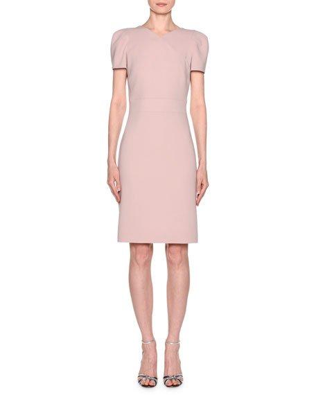 Short-Sleeve Wool Crepe V-Neck Dress, Pink