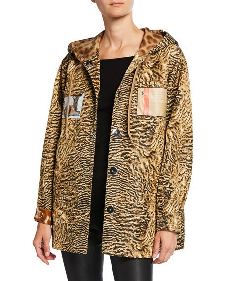 Leopard Print Hooded Boxy Jacket