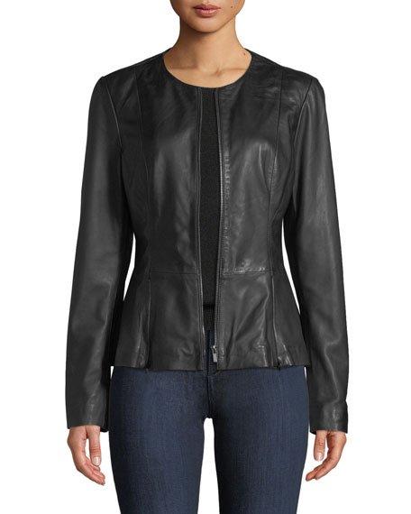 Zip-Front Leather Peplum Jacket
