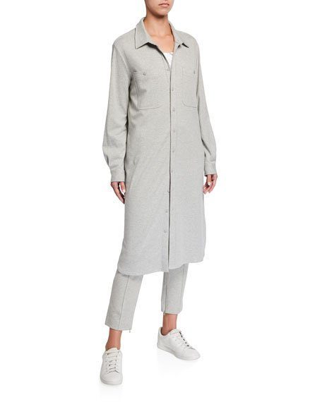 Plus Size Long Button-Front Knit Cotton Shirtdress