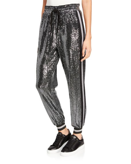 Mirror Ball Sequined Side-Stripe Jogger Pants