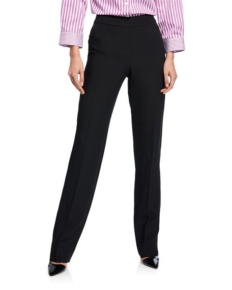 Basic Straight-Leg Stretch Wool Pants