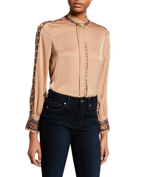 Owen Mock-Neck Long-Sleeve Silk Blouse