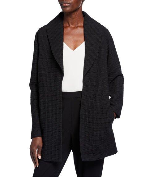 Petite Basket Weave Shawl-Collar Jacket