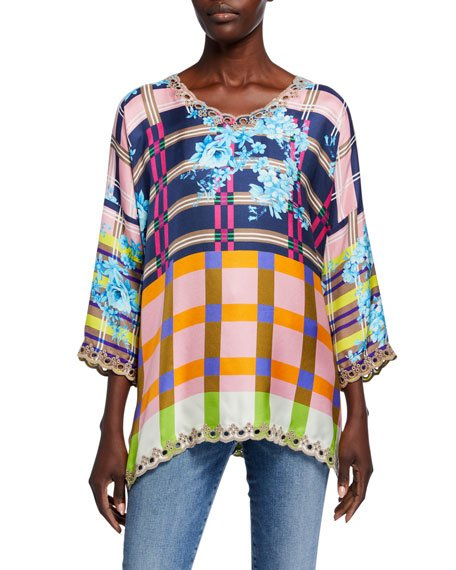 Nora Multi Grid Scoop-Neck Bracelet-Sleeve Silk Top