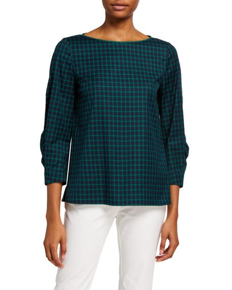 June Micro Windowpane Plaid 3/4-Sleeve Blouse