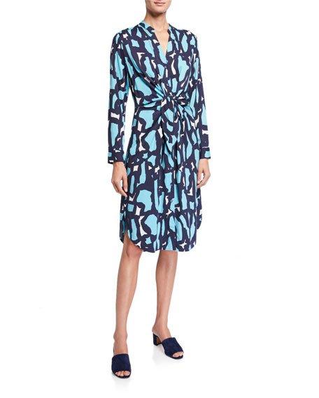 Plus Size Vivid Giraffe Tie-Front Dress