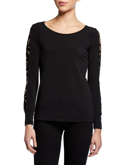Kiara Long-Sleeve Jersey Top w/ Golden Sleeve Details