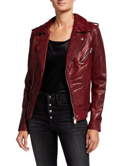 Kiyoshi Leather Zip-Front Moto Jacket