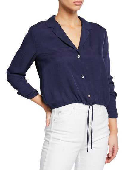 Button-Front Long-Sleeve Drawstring Crop Shirt