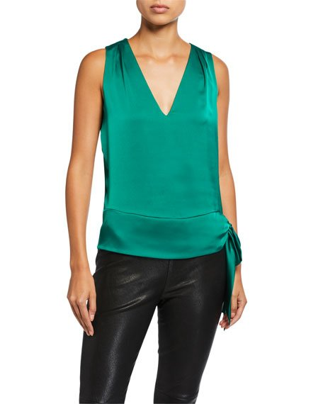 Miranda Sleeveless Side-Tie Satin Blouse