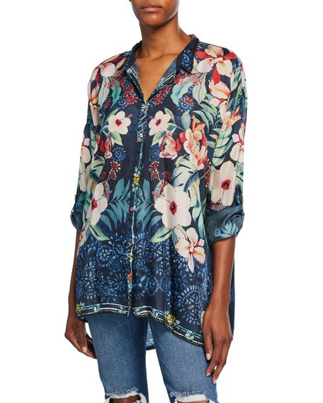 Petite Nelia Floral-Print Button-Front Long-Sleeve Silk Shirt
