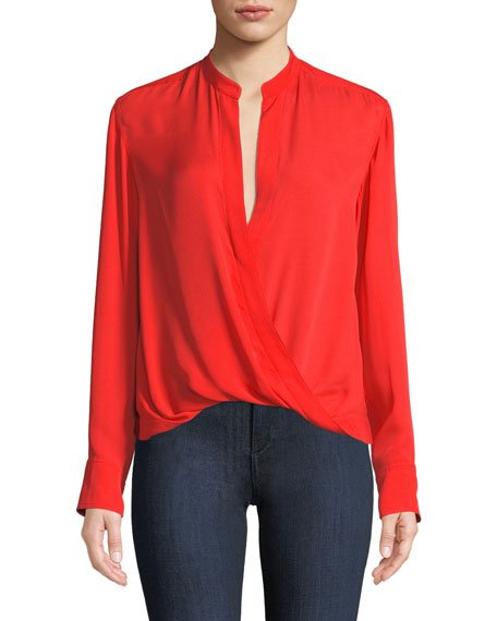 Luca Draped V-Neck Silk Long-Sleeve Top