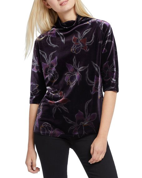 Mock-Neck Elbow-Sleeve Soft Petal Printed Velvet Top