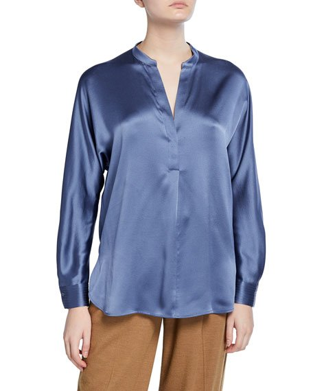 Silk Satin Band Collar Blouse
