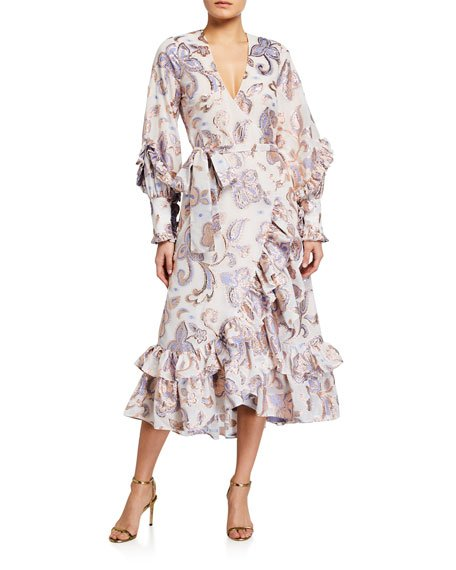 Abessa Printed Ruffle Wrap Dress