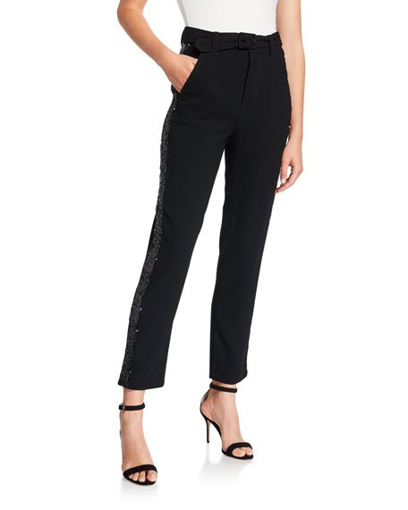 Straight-Leg Trousers with Rhinestone Tuxedo Stripes